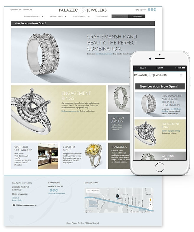 Palazzo Jewelers Website and Mobile Design