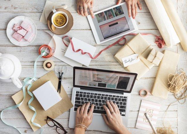 Redesigning Website Using Laptop