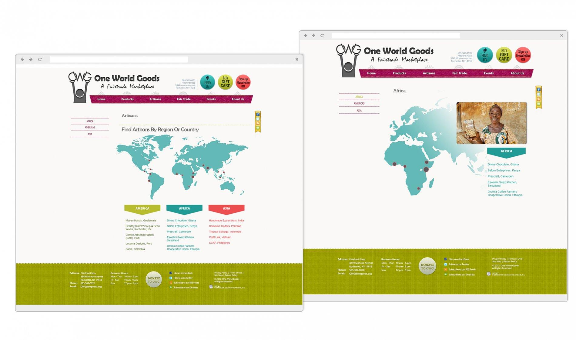 One World Goods Website Artisans Page