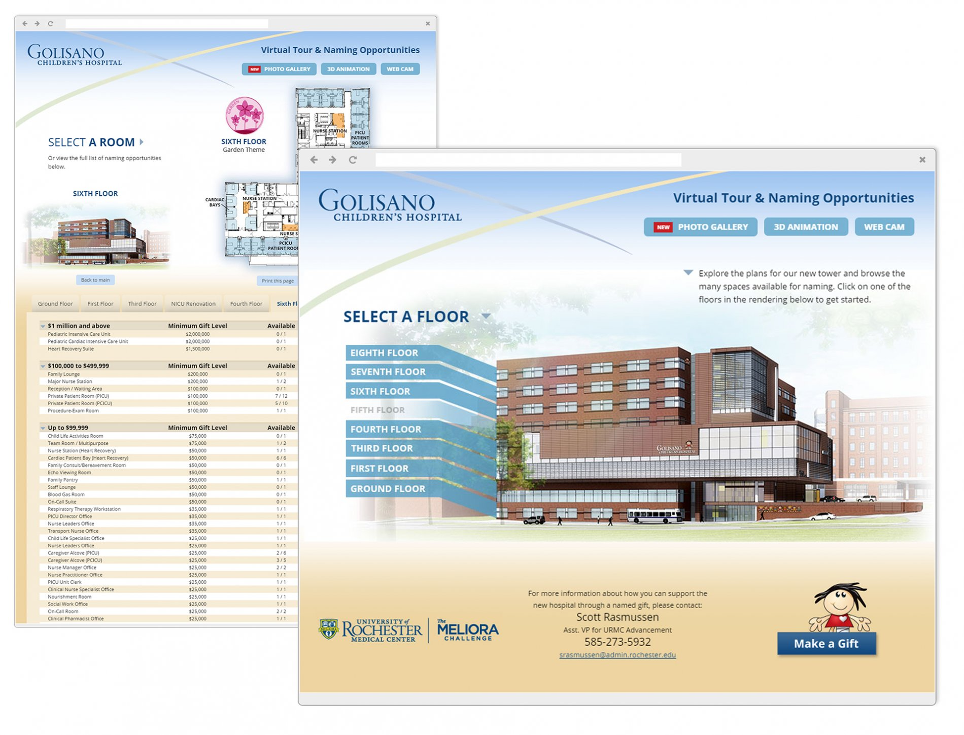 Floor/Location Highlight Screen of Golisano Childrens Hospital Building Naming Campaign Application