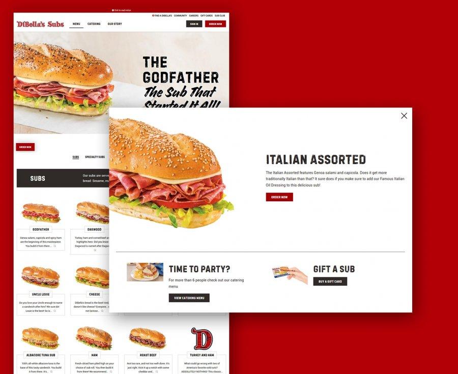 Screenshot of DiBella's website menu