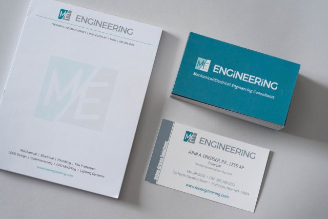 M/E Engineering Branded Business Cards and Notepads