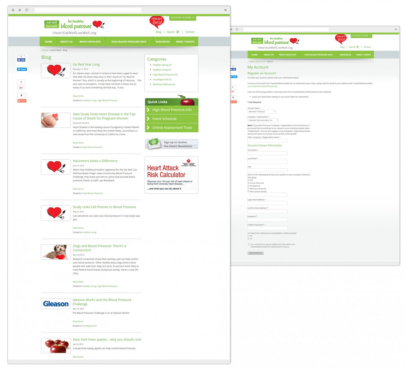 iHeart EatWell LiveWell Personalized Online Account System and Blogs