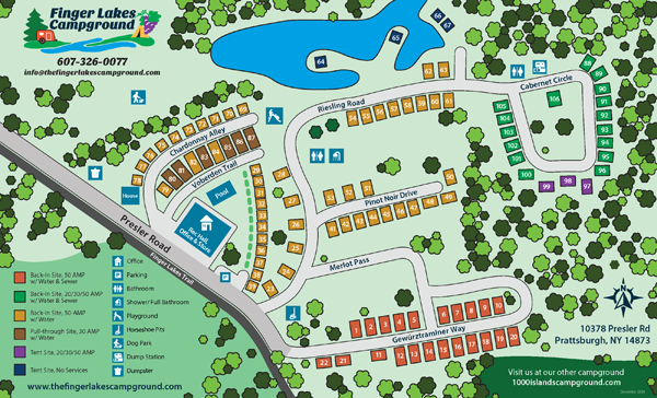 Finger Lakes Campground Site Map