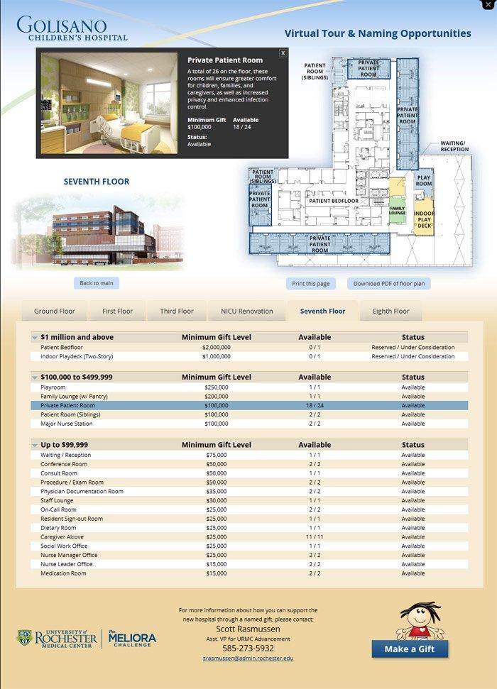 Floor/Location Highlight Screen of Golisano Childrens Hospital Building Naming Campaign Application