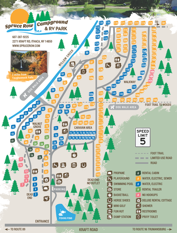 Spruce Row Campground Site Map