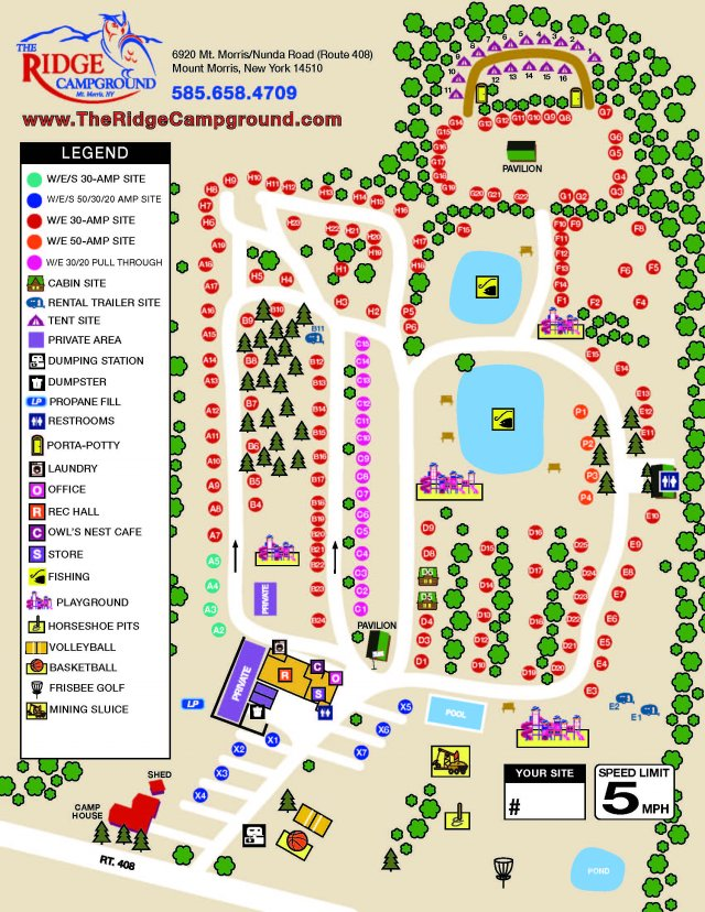 The Ridge Campground Site Map