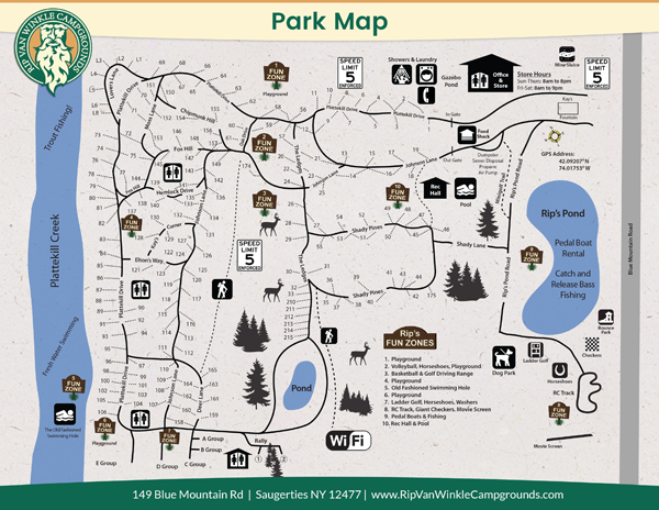 Rip Van Winkle Campgrounds Site Map