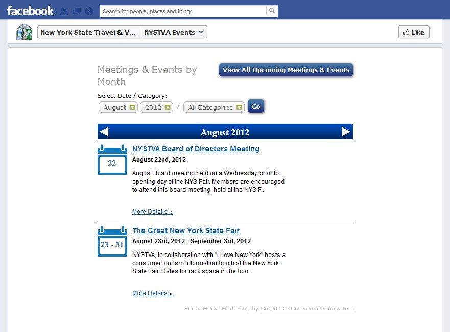 Integrated Facebook Event Calendar Controlled through website calendar