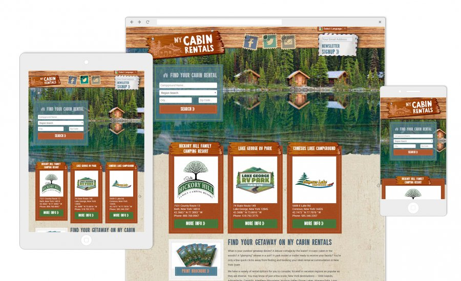 CONY Rental Cabins and Cottages Website