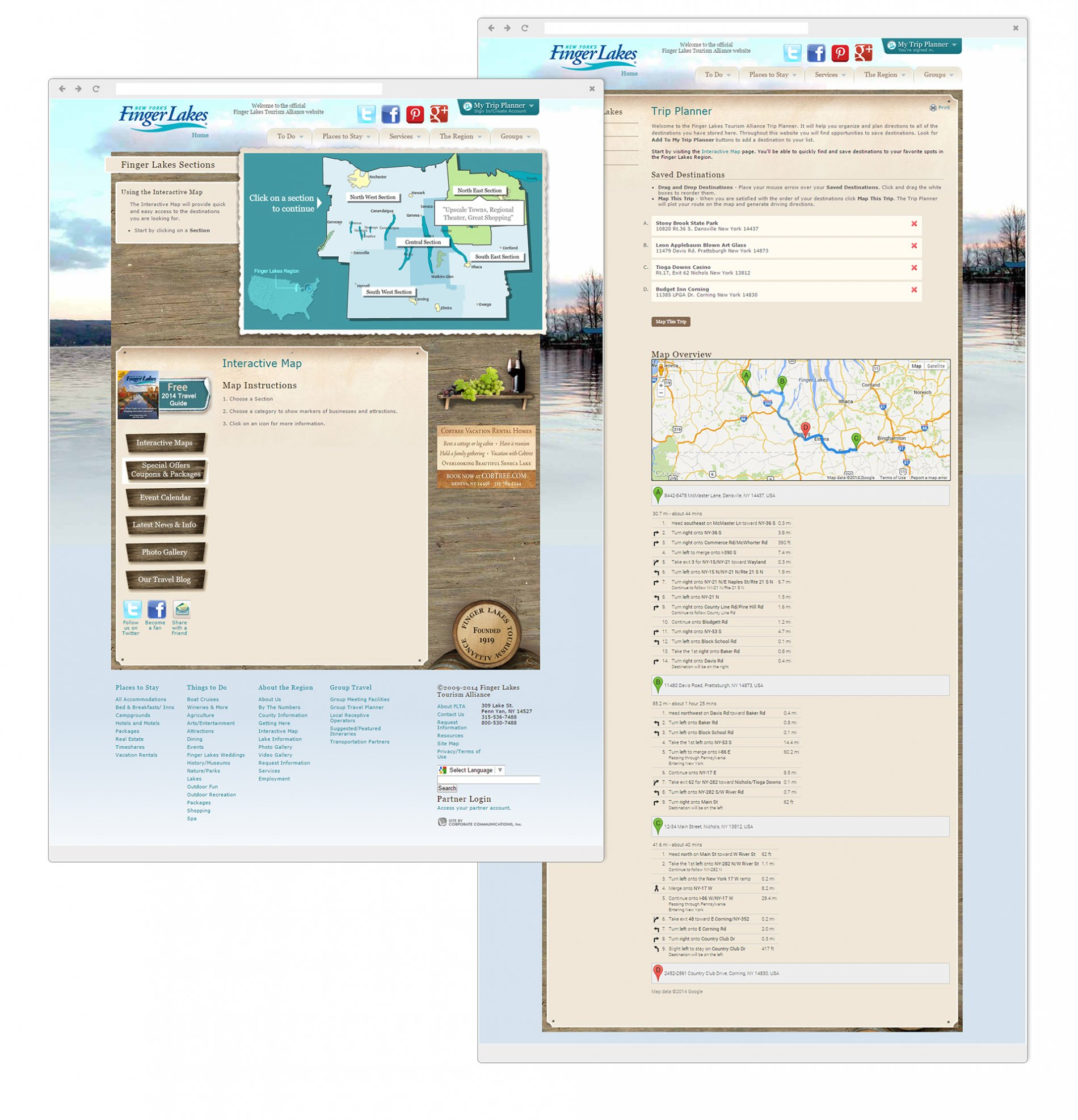 Interactive Mapping application - Selection screen & Planned trip include routes from selected destinations