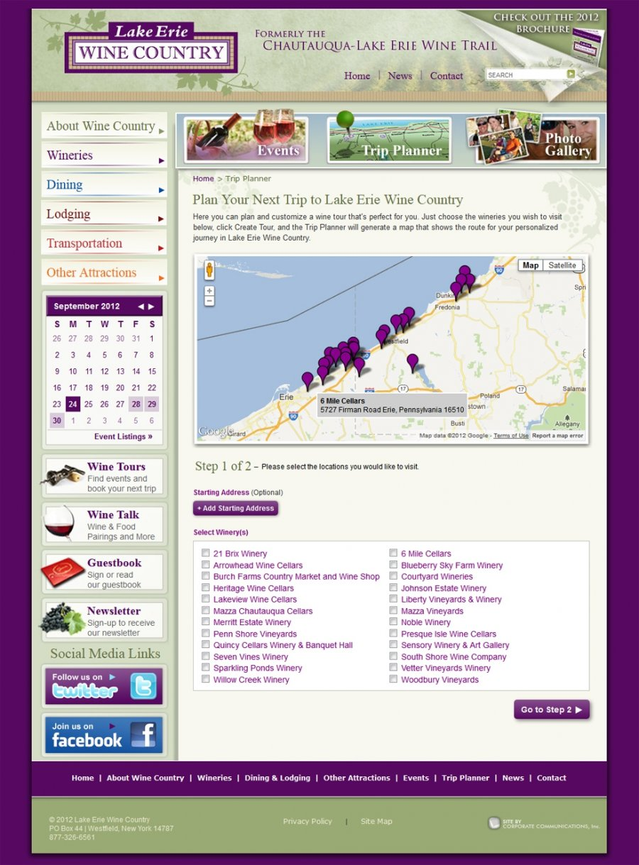 Interactive Winery Trip Planner