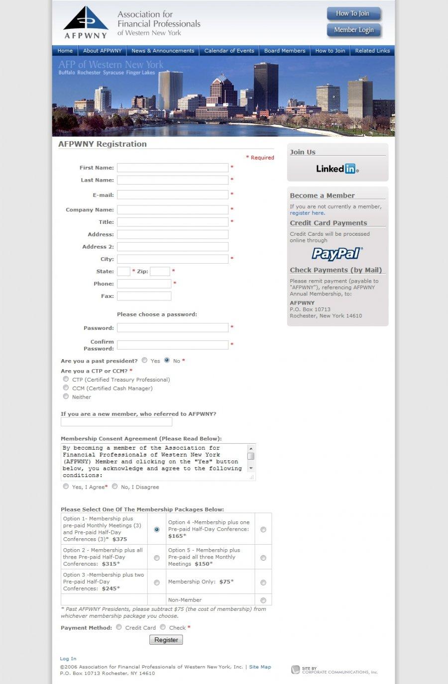Online Membership Enrollment