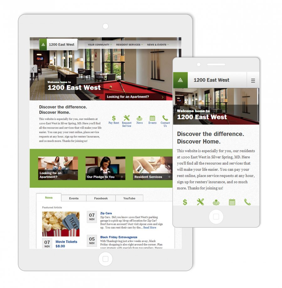 Home Properties 1200 East West Responsive Website Design
