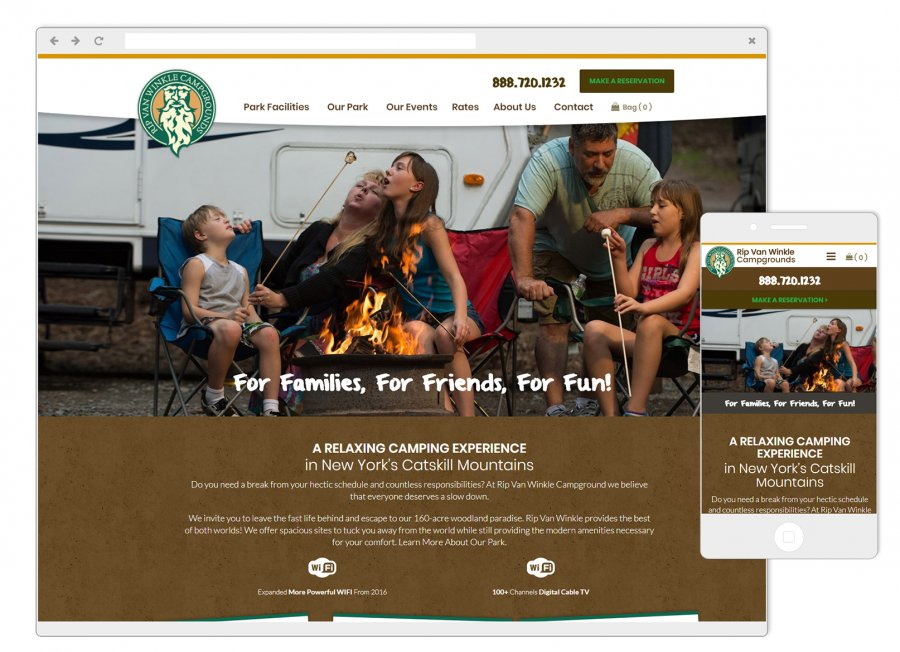 Rip Van Winkle Campgrounds Mobile-Friendly Website