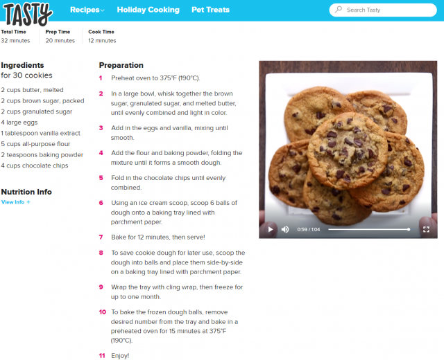Tasty chocolate chip cookie recipe