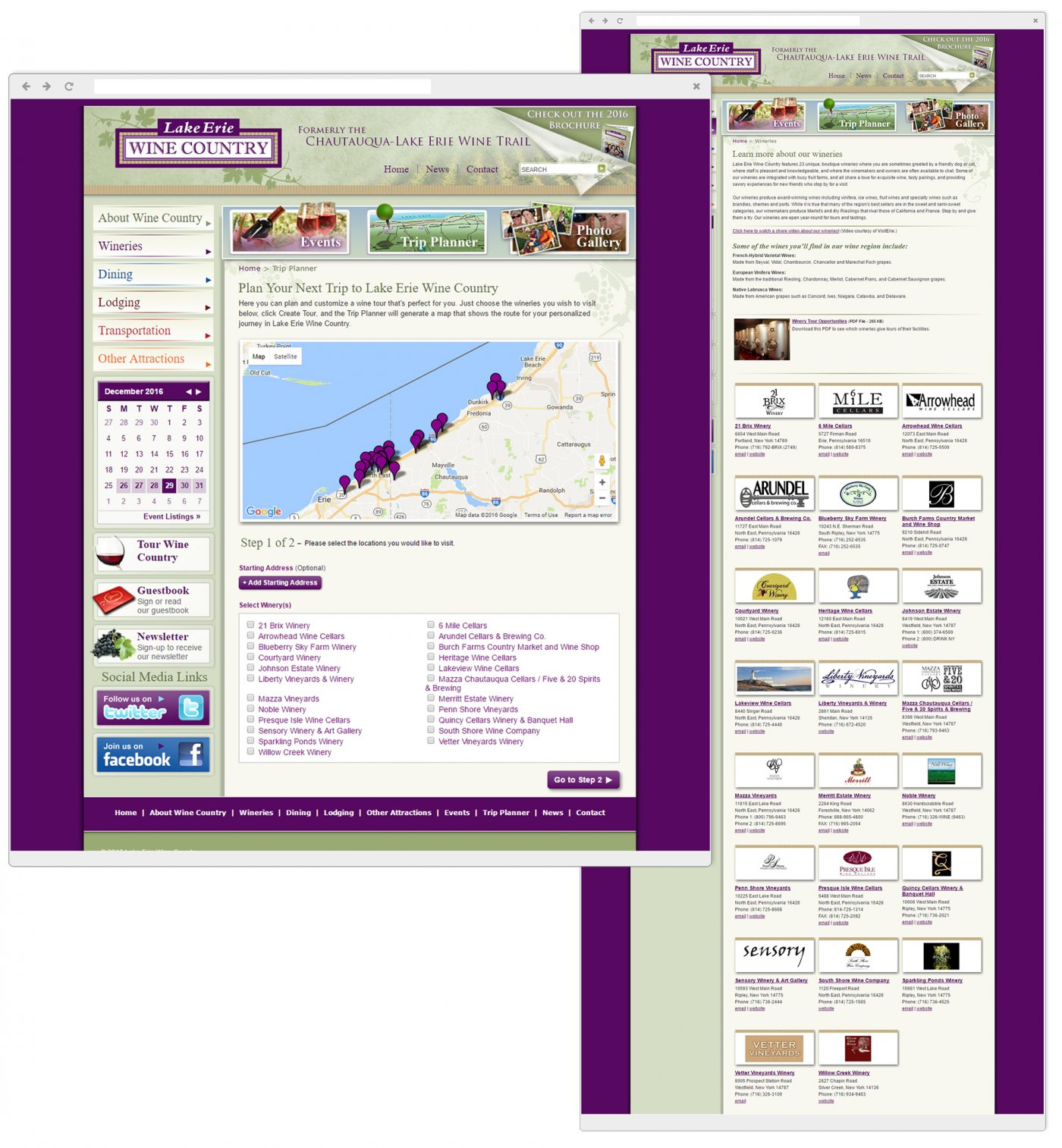 Interactive Winery Trip Planner & Complete Winery Directory