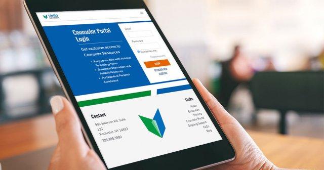 Voila Technology Counselor Portal on tablet
