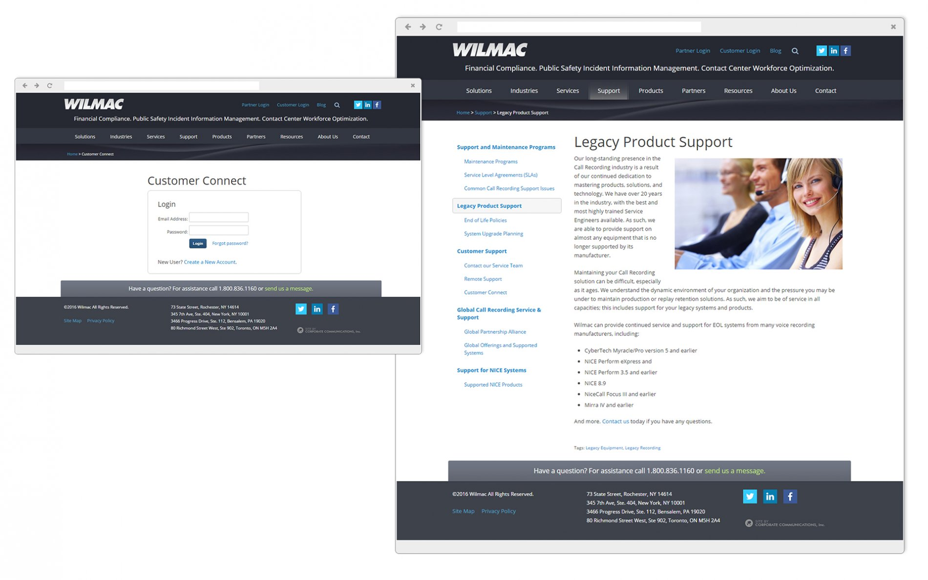 Wilmac Customer Connect - Private Customer Portal and Support page