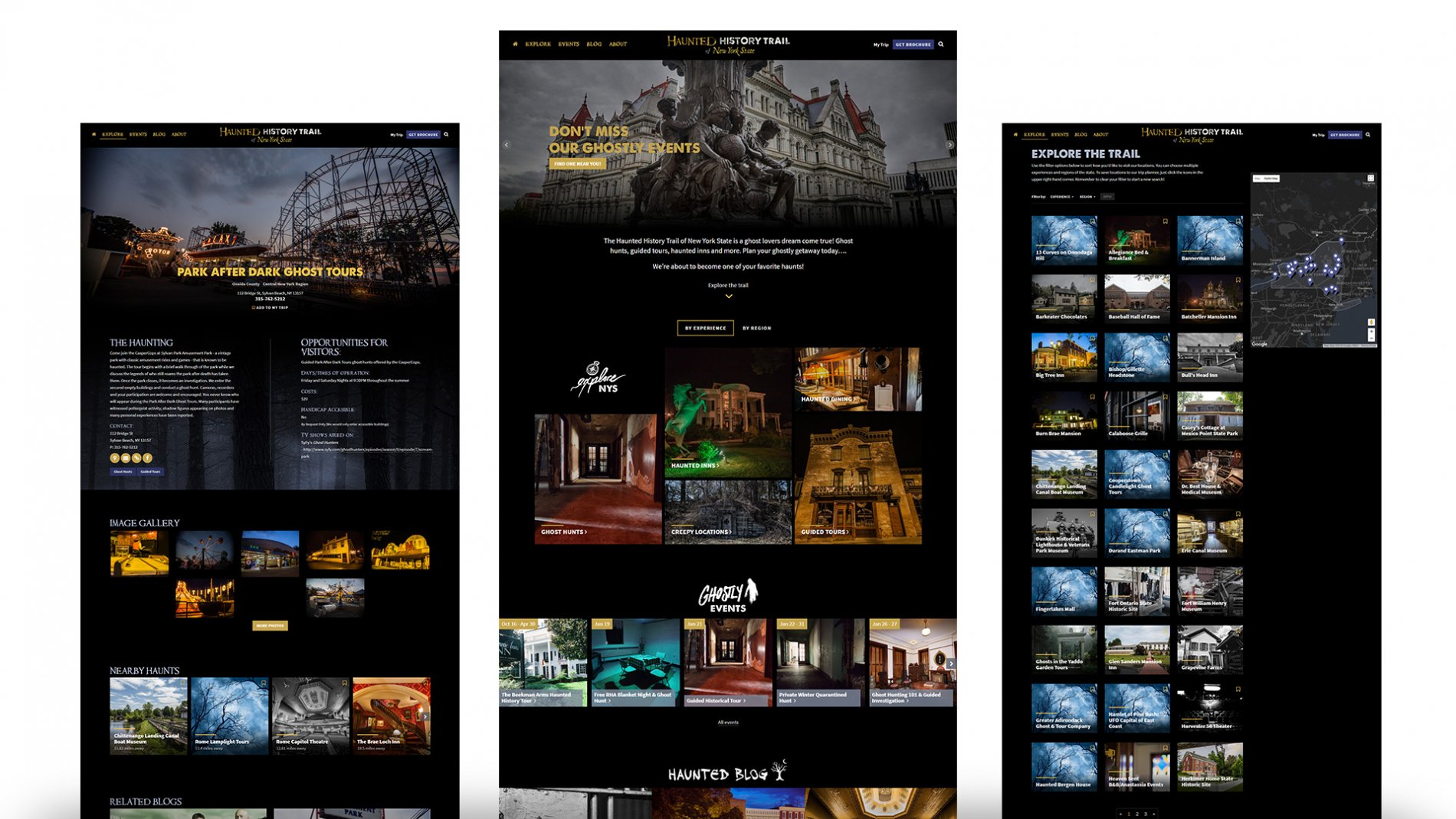 Haunted History Trail, tourism web design
