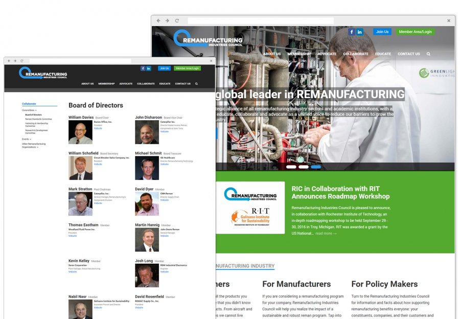Remanufacturing Industries Council Website Design