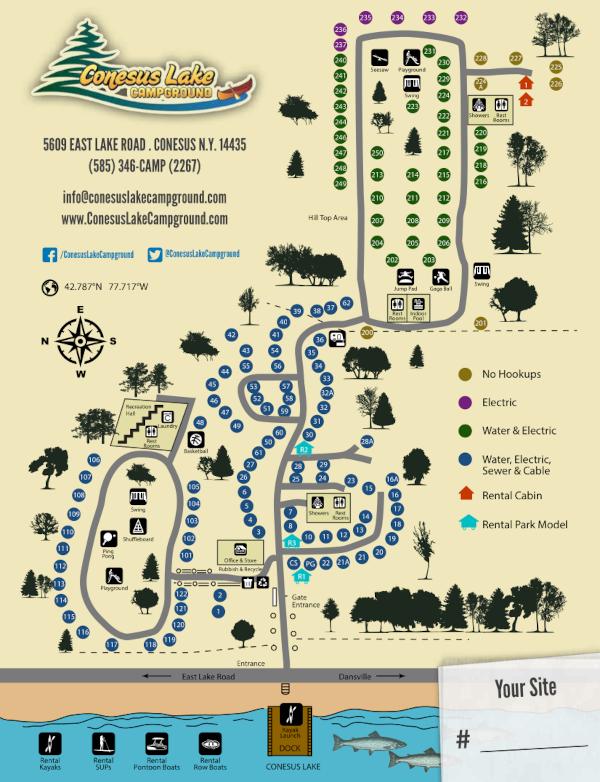 Conesus Lake Campground Site Map