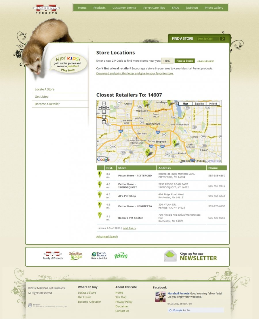 Interactive ferret where to buy finder