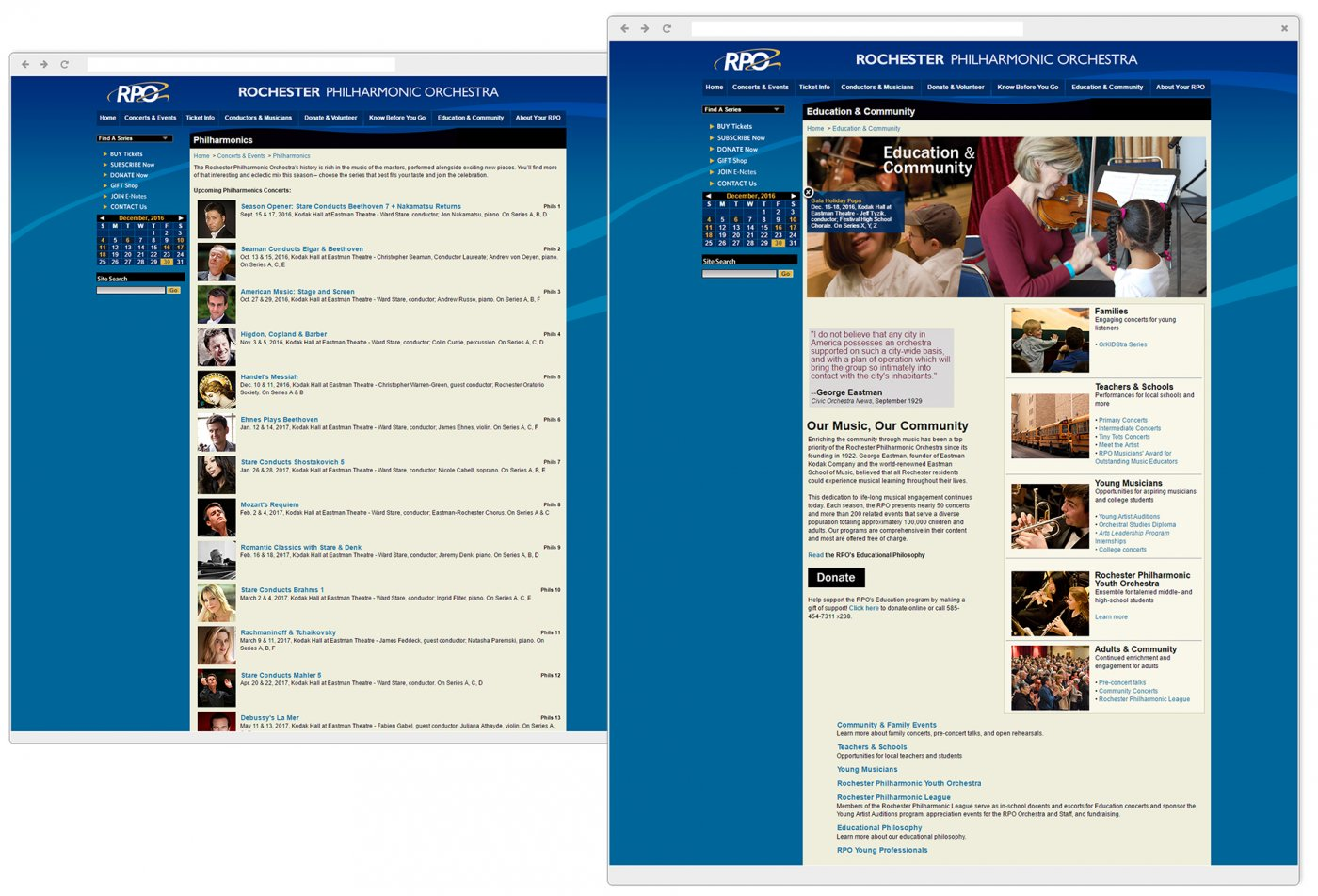 RPO Education & Community page & Philharmonics page